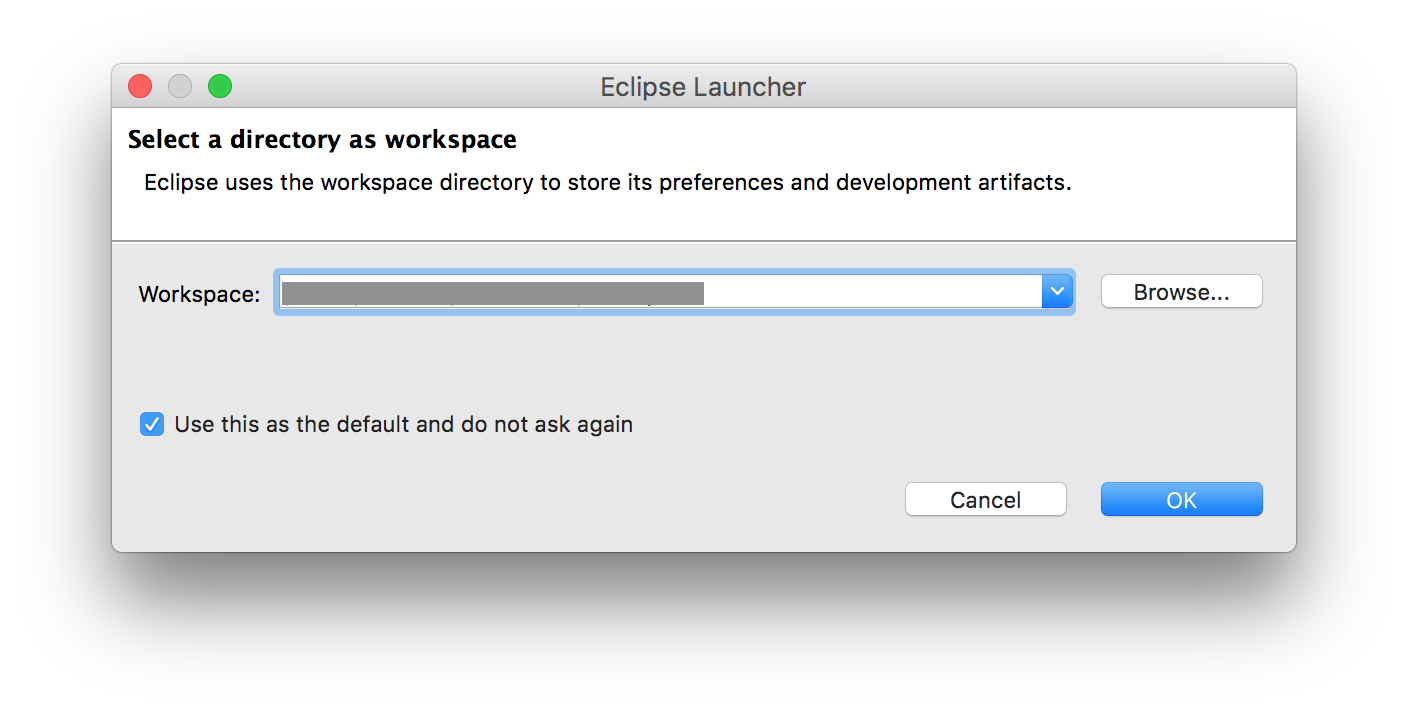 Eclipse Workspace Launcher dialog