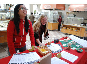 Stanford students enjoy Nutrition Week at Branner Dining.