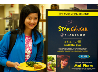 A Stanford student at Wilbur Dining
