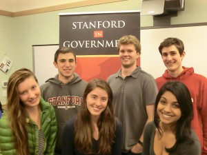 Campus Awareness committee including (left to right, alternating foreground and background): Kelly Showen, Michael Celentano, Adrienne von Schultess, AJ Sugarman, Uttara Sivaram, and Liam McSweeney
