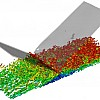 Large-Eddy simulation of an oblique shock/turbulent boundary layer interaction (by B.E. Morgan, 2012).