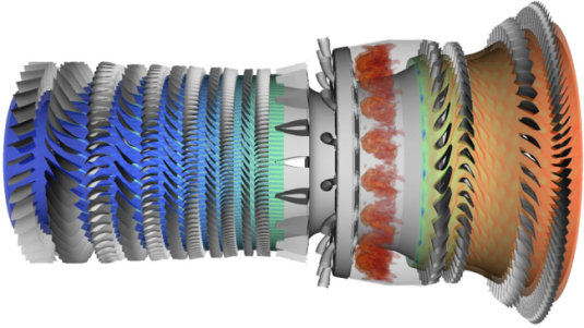Comprehensive simulation of the flow through an entire jet engine, done in collaboration with Pratt & Whitney. Contours of entropy in the high-pressure compressor and in the first two stages of the turbine, as well as contours of temperature in the combustor of a Pratt & Whitney engine.