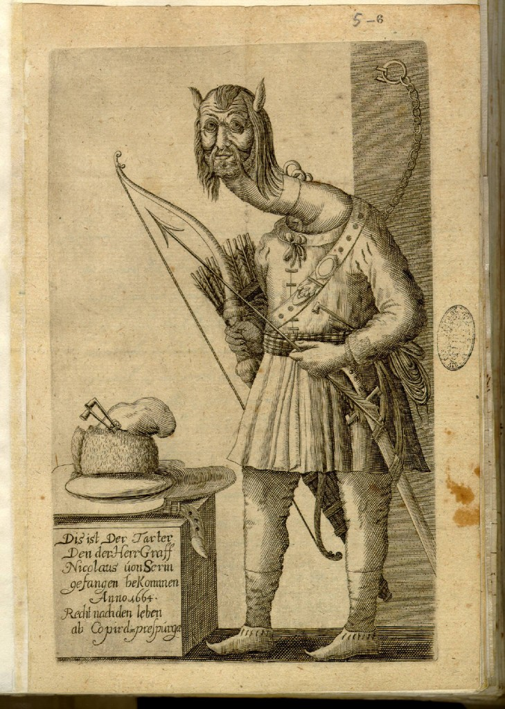 Engraving of a Monstrous Tartar, sent to Kircher in 1664.