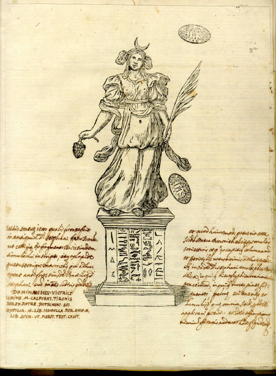 Ovidio Montalbani to Kircher, Engraving of the Goddess Isis, accompanied by manuscript notes. Bologna, 5 September, 1664.