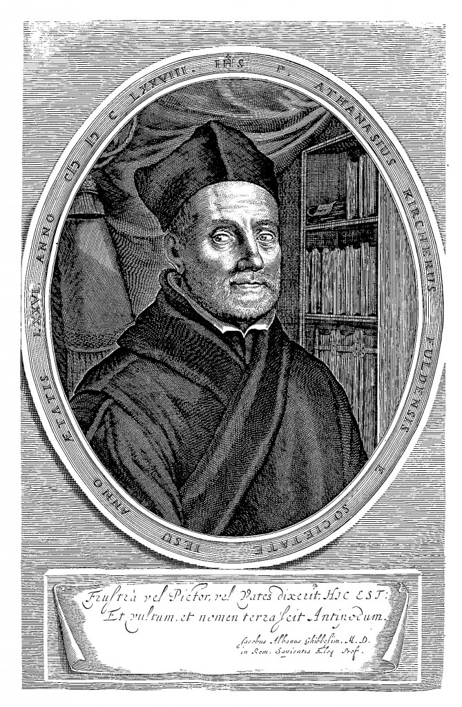 Portrait of Kircher at the age of 76 from Giorgio de Sepibus, Romani Collegii Musaeum Celeberrimum, p. 1