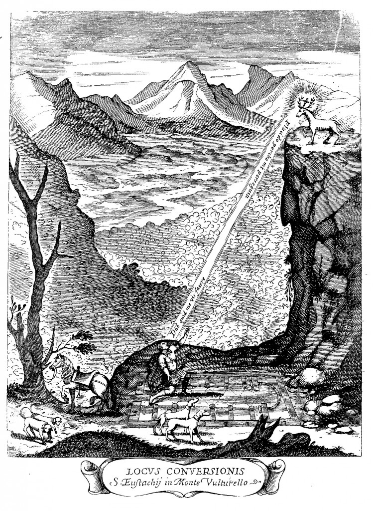 The site of the conversion of St. Eustace, at the Mentorella in Lazio, from Historia Eustachio-Mariana, frontispiece