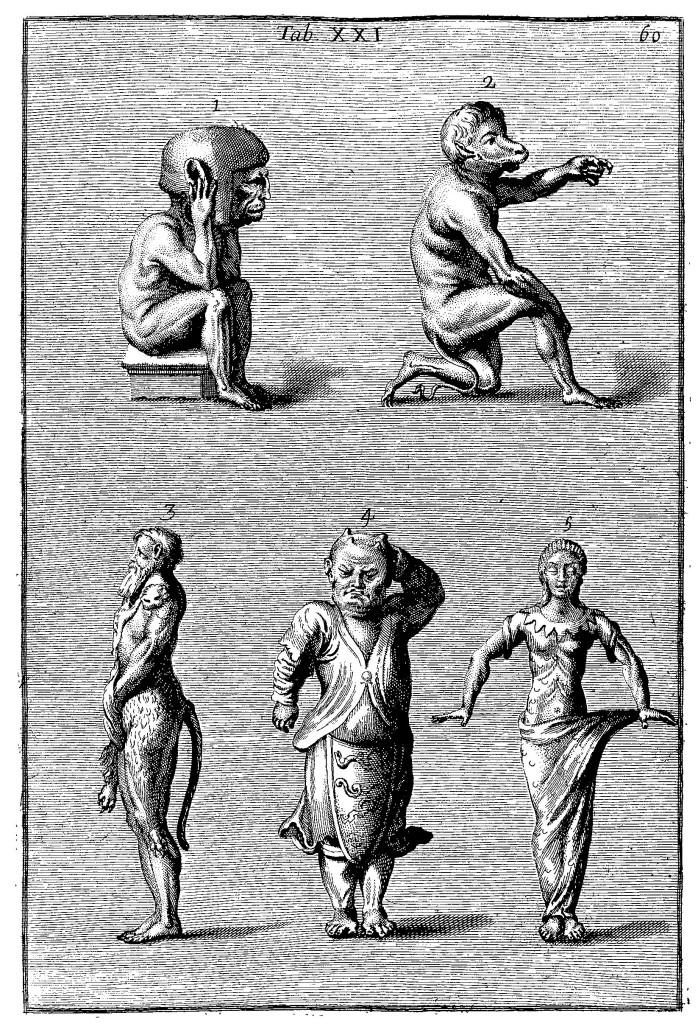 "Idols from the ""Indies"", in the restored museum of the Collegio Romano, from Filippo Bonanni, Musaeum Kircherianum, p. 60"