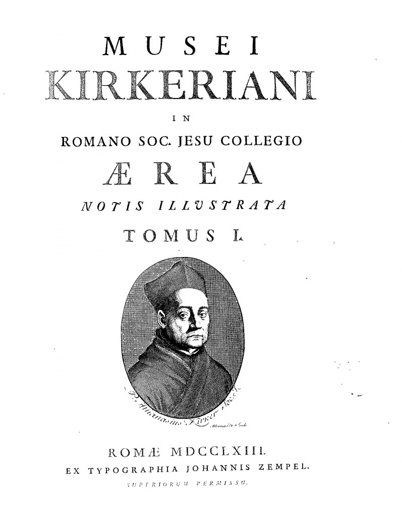Portrait of Kircher, on the titlepage of Arcangelo Contuccio de Contucci, Musei Kircheriani Aerea.