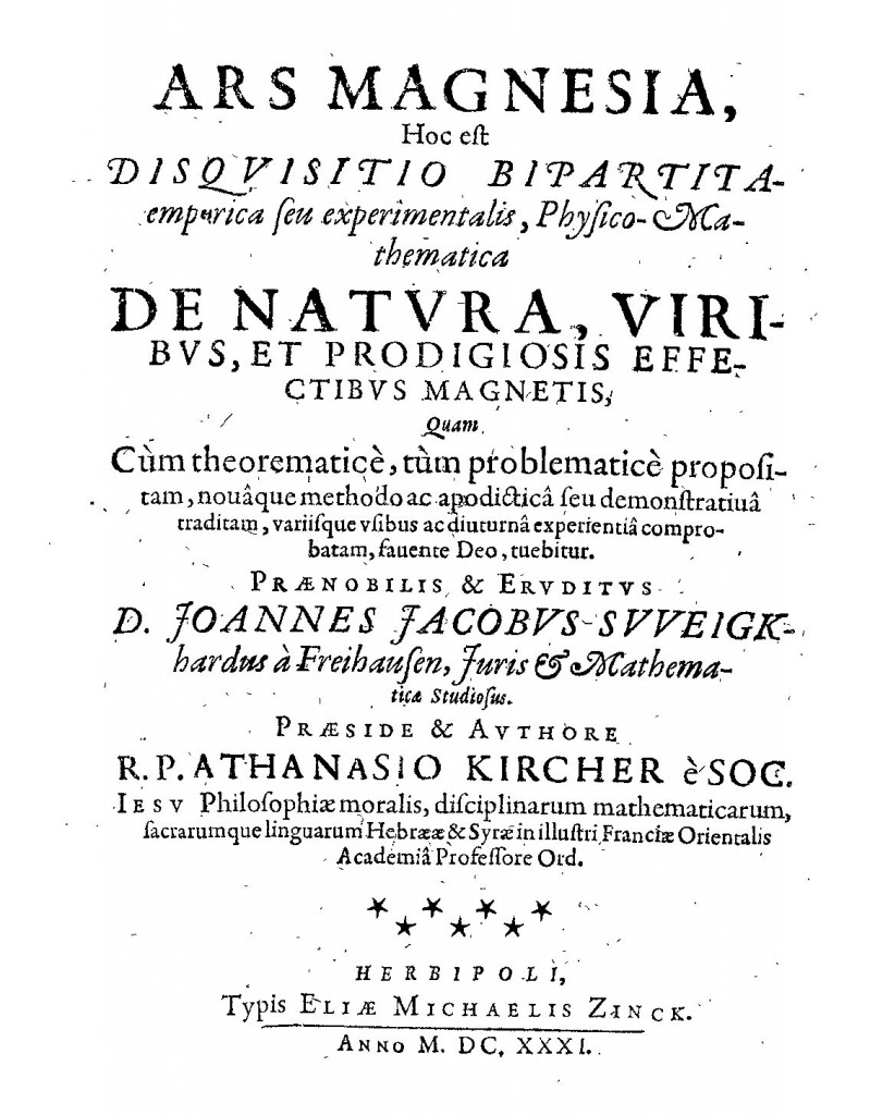 Titlepage of Kircher's first publication, Ars Magnesia