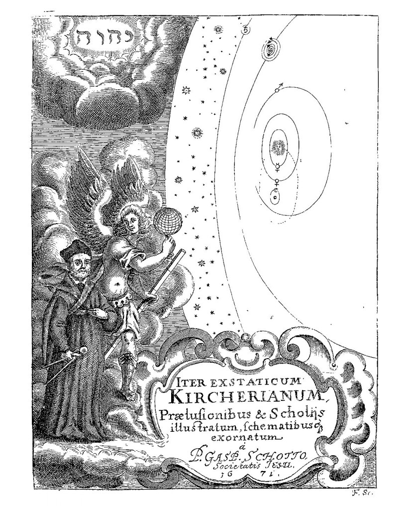 Frontispiece to Kircher's Iter Exstaticum depicting Kircher acoompanied by the angel Cosmiel on a journey through the cosmos.