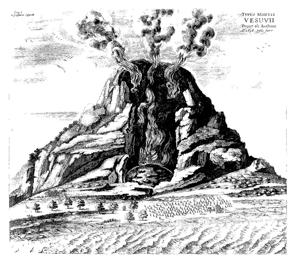 Eruption of Vesuvius in 1638, witnessed by Kircher, from Mundus Subterraneus, 1678 edn., Vol. 1.