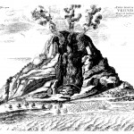 Eruption of Vesuvius in 1638, witnessed by Kircher, from Mundus Subterraneus, 1678 edn., Vol. 1.