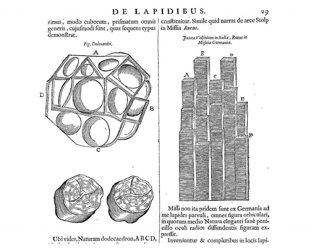 Geometrical mineral formations from Mundus Subterraneus (1665 edn.) vol. 2, pp. 28-9