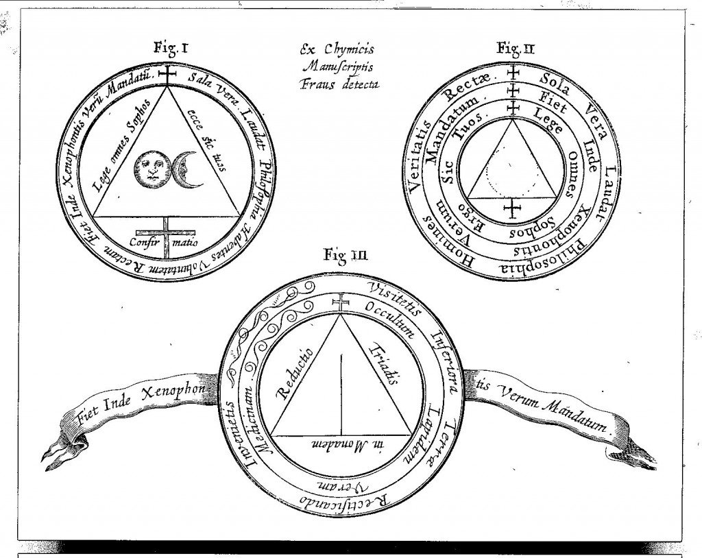 "Diagrams taken from books by ""false alchemists"", from Mundus Subterraneus (1665 edn.) vol. 2, p. 293"