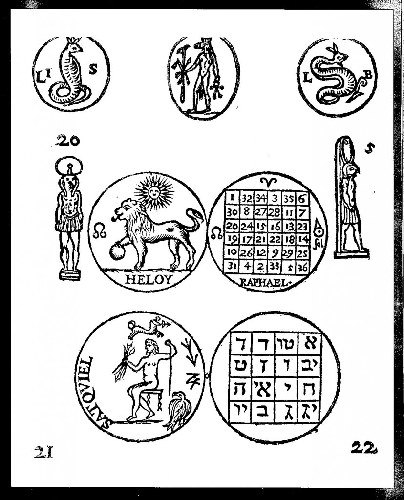 Amulets with magic squares, from Oedipus Aegyptiacus, tom. 2, vol. 2, p. 465.