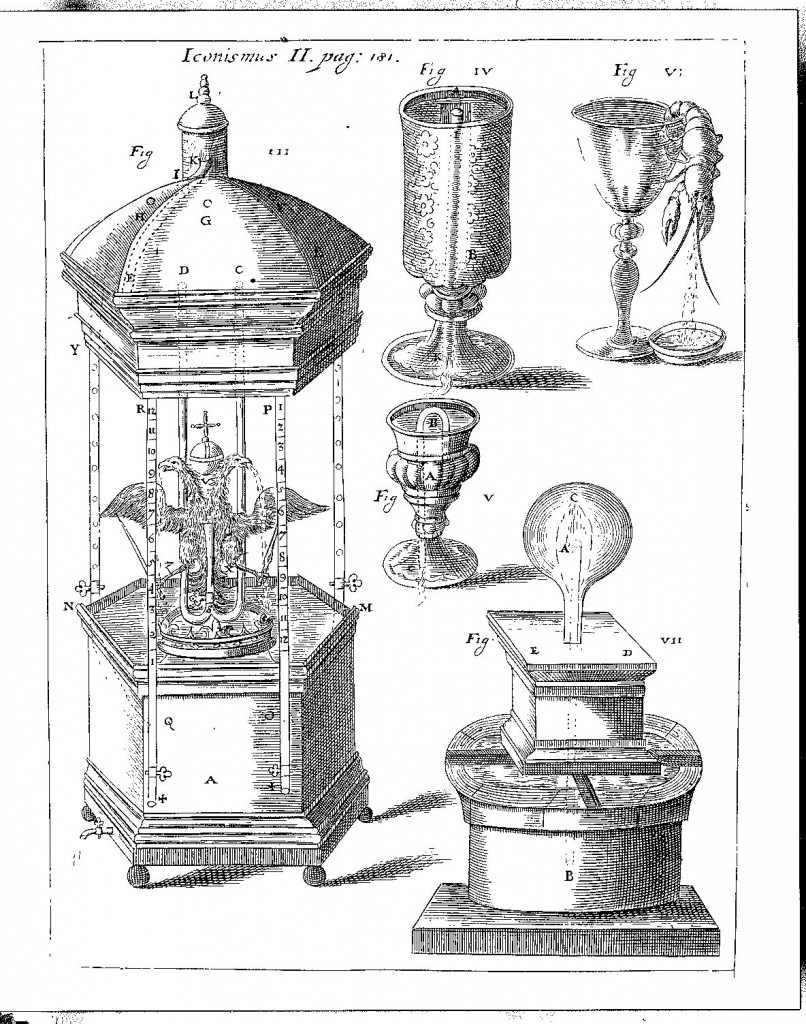 The two-headed imperial eagle, vomiting copiously from the depths of its gullets, and other vomiting machines, displayed in Kircher's museum, from Kaspar Schott, Mechanica Hydraulico-Pneumatica, p. 181