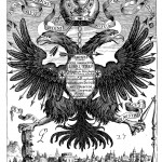 "A magnetic Habsburg eagle. The Latin inscription around the eagle's feet ""Et Boreae et Austri-acus"" is a play on words on words linking the compass needle (""the needle of both North and South"" to the house of Austria (""Austri-acus""). From Magnes (1643 edn.), frontispiece."