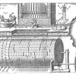 Hydraulic organ, from Kaspar Schott, Mechanica Hydraulico-Pneumatica, p. 428.
