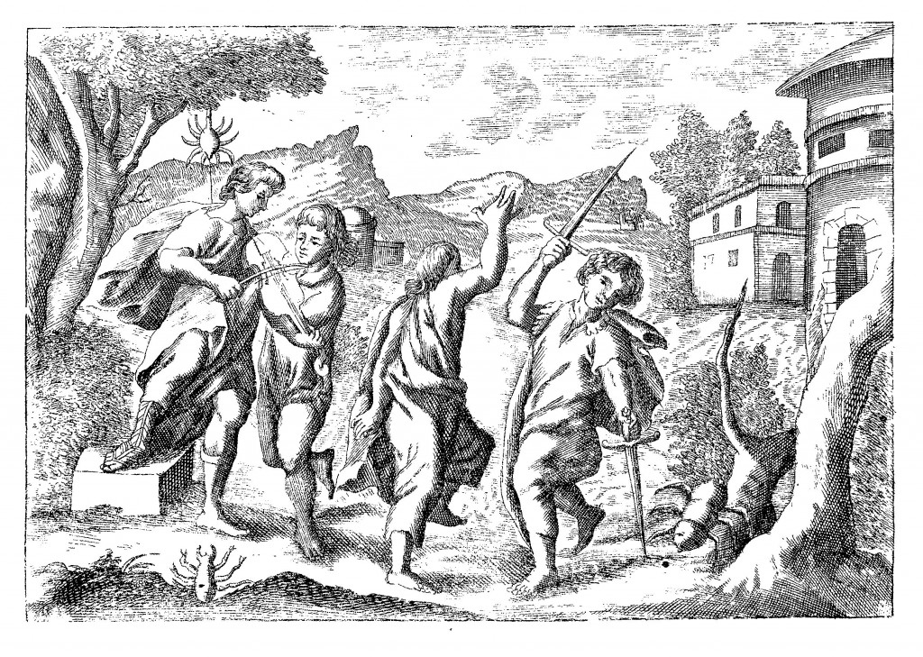 The tarantella, with dancing tarantulas, from Neue Hall und Thom-Kunst, p. 145.