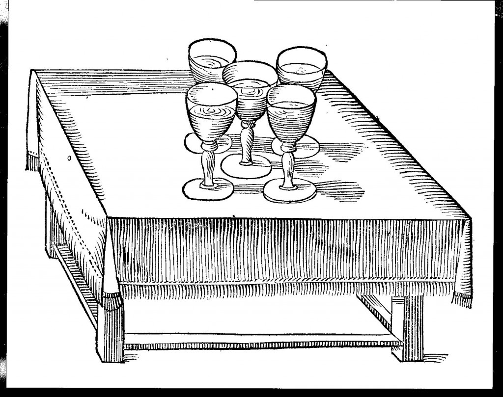 Experiment with five vibrating goblets, from Phonurgia nova, p. 191.