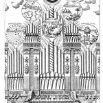 The harmony of the birth of the world, represented by a cosmic organ with six registers, corresponding to the six days of creation, from Musurgia universalis , vol.2, p. 366.