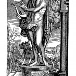 Orpheus tuning his lyre, with the subdued Cerberus at his feet, from Musurgia universalis, book 3, frontispiece.