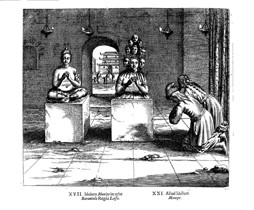 Tibetans worshipping idols, from China Illustrata , p. 72.