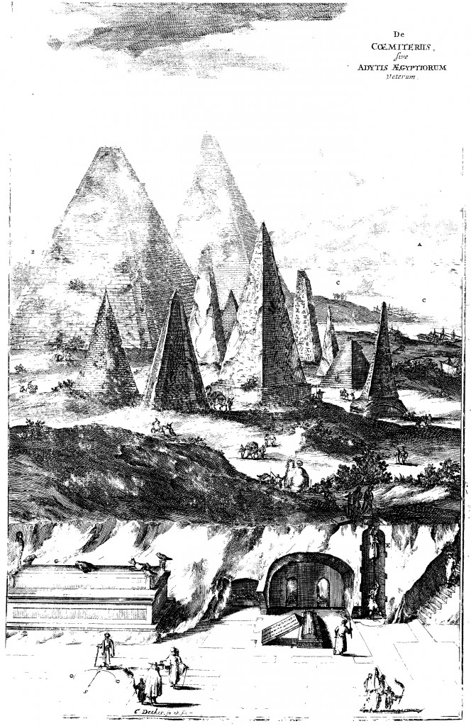 The pyramids of Egypt from Gioseffo Petrucci, Prodromo apologetico alli studi chiercheriani (1677), illustration reprinted from Sphinx Mystagoga.
