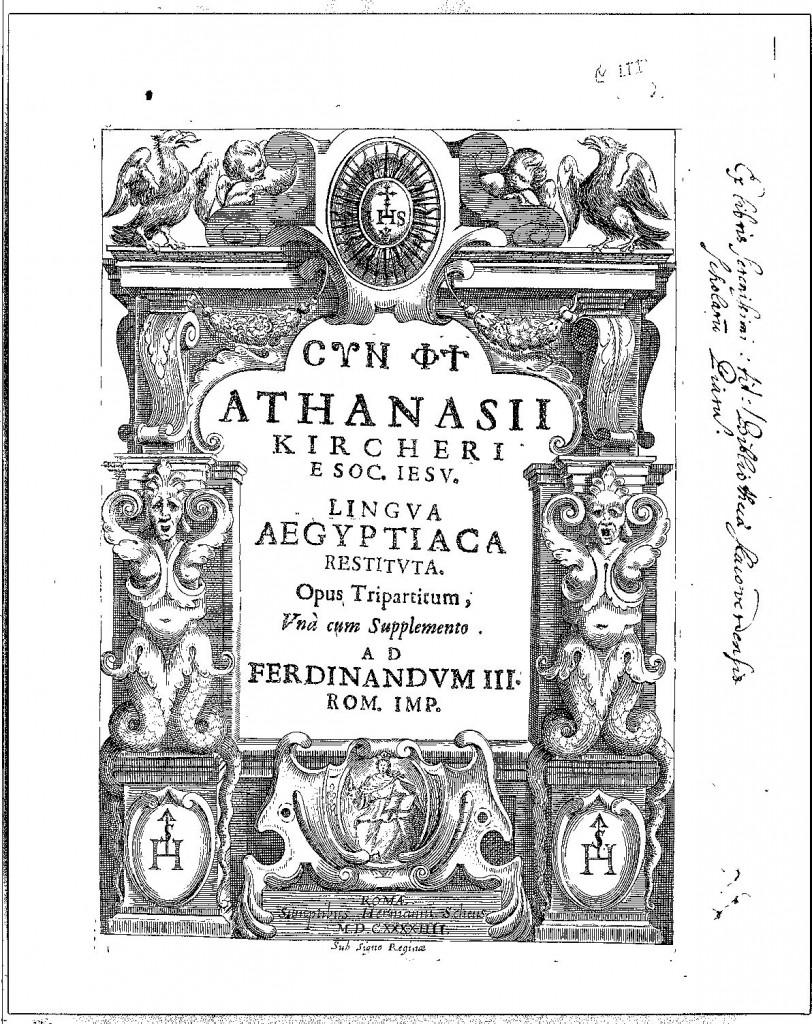 Frontispiece of Lingua Aegyptiaca Restituta.