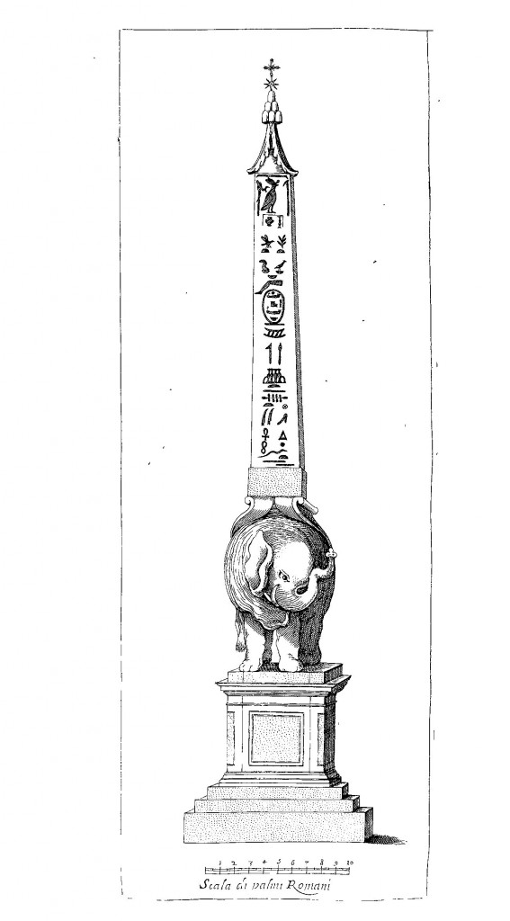 Bernini's design for the obelisk of the Minerva from Obelisci Aegyptiaci Interpretatio.