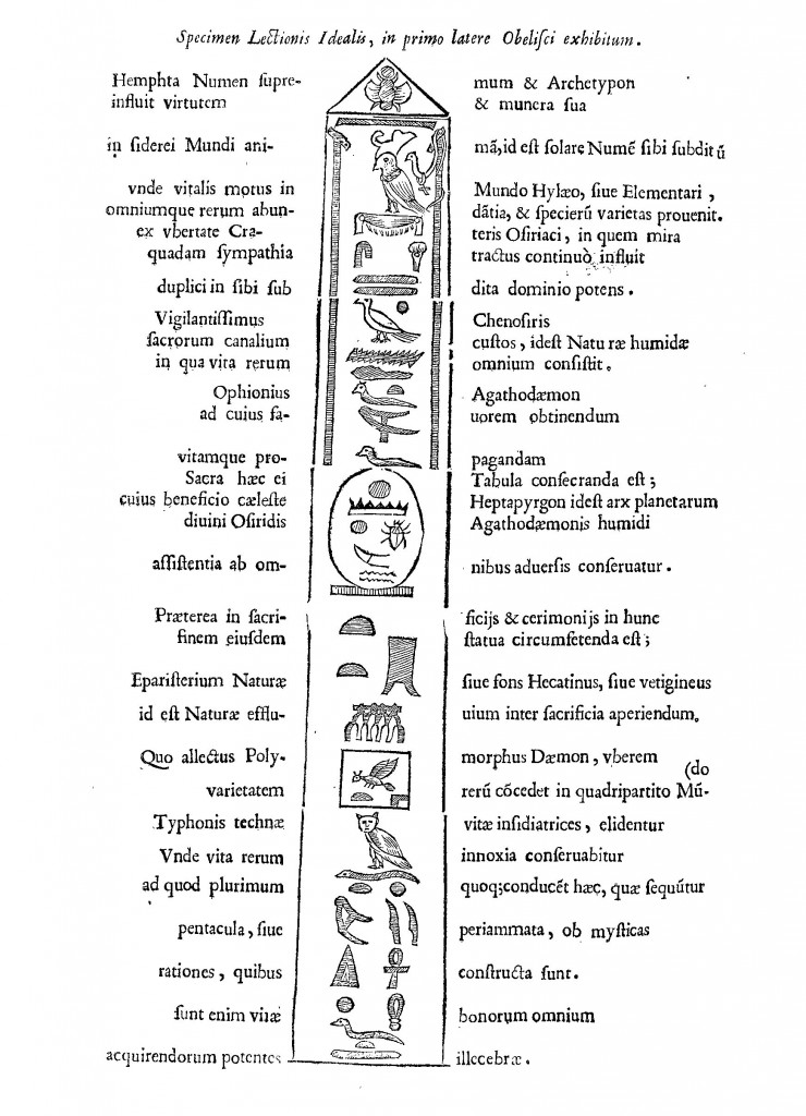 """Kircher's translation of the Minervan obelisk. It begins """"Hemphta the supreme spirit and archetype infuses its virtue and gifts in the soul of the sidereal world..."""" Obelisci Aegyptiaci, p. 78."""