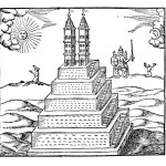 A Mexican temple with Indians worshiping the Sun and Moon, from Oedipus Aegyptiacus, tom. 1, p. 422.