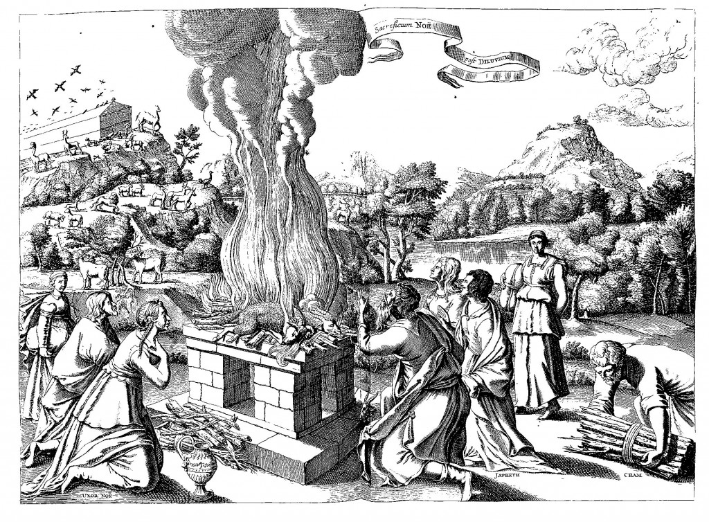 Noah offering a sacrifice to God after the Flood, from Arcae Noe, p. 166.