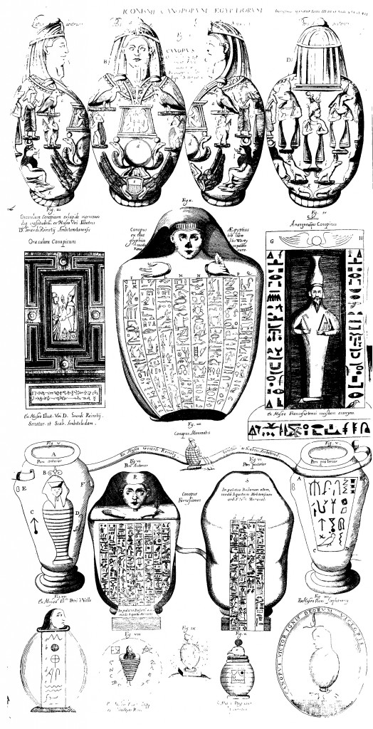 Egyptian antiquities from Camopus in the collection of Francisco Gualdo. From Oedipus Aegyptiacus, tom. 3, p.435.