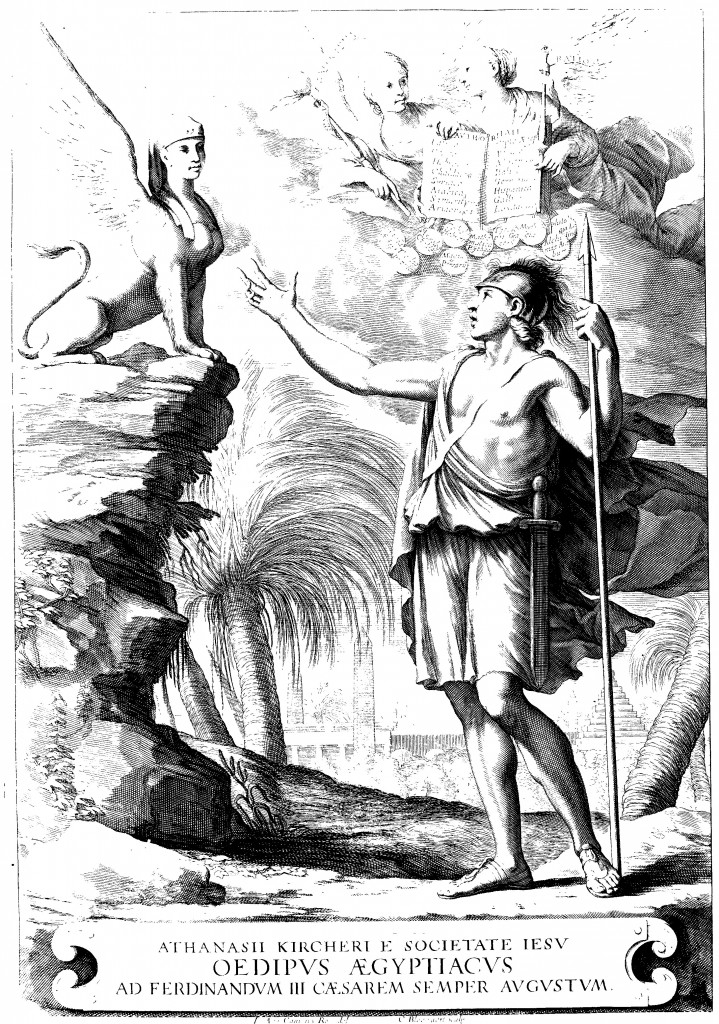 Frontispiece depicting Oedipus solving the riddle of the sphinx, from Oedipus Aegyptiacus, tom. 1.