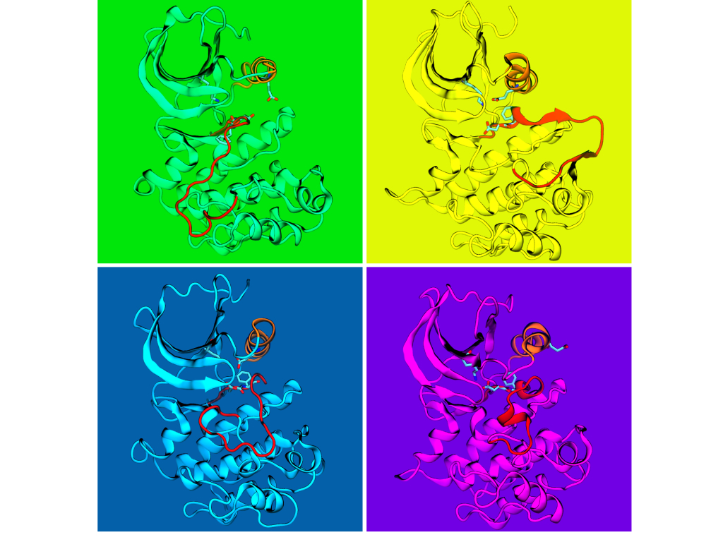 Kinase on Green, Yellow, Blue & Purple by Mohammad Sultan