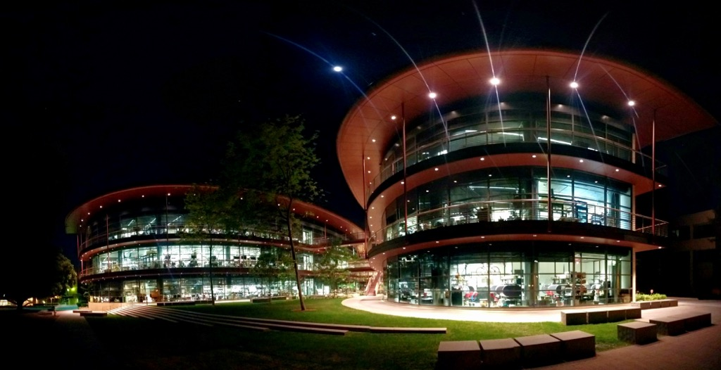 Stanford's Clark Center at night