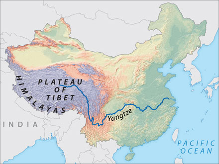 Plateau Of Tibet On Map Of Asia.Welcome To Rivers Of Asia