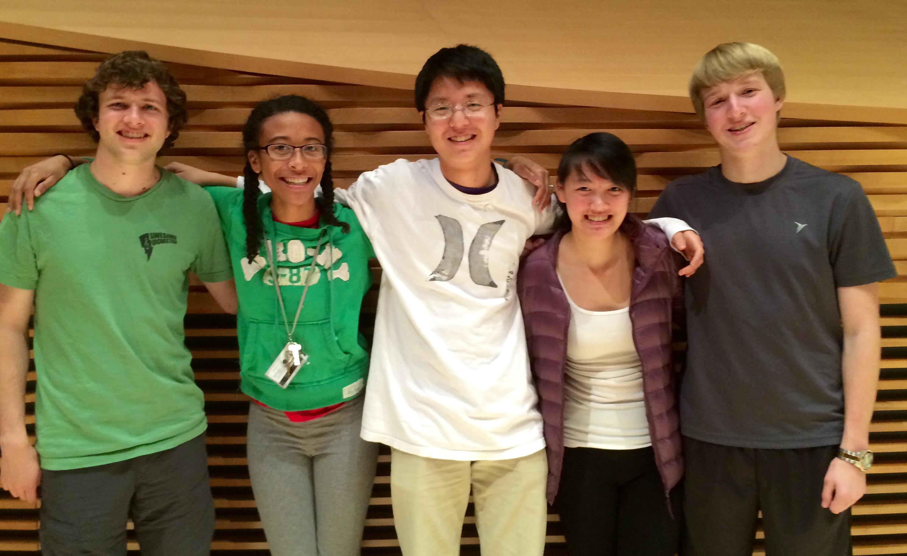 Five members of the SSO, from left to right: Brad Girardeau (Violin), Elise Lasker (Oboe), Ben Yeh (Cello), Tessera Chin (Viola), Jake Gold (French Horn)