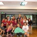 Alena Groopman, LIVERight organizer and wonderful Zumba instructor, leads Stanford Team HBV in a practice zumba session during retreat.
