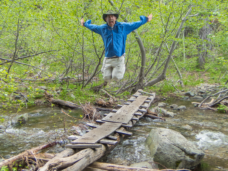 bob jumping on bridge
