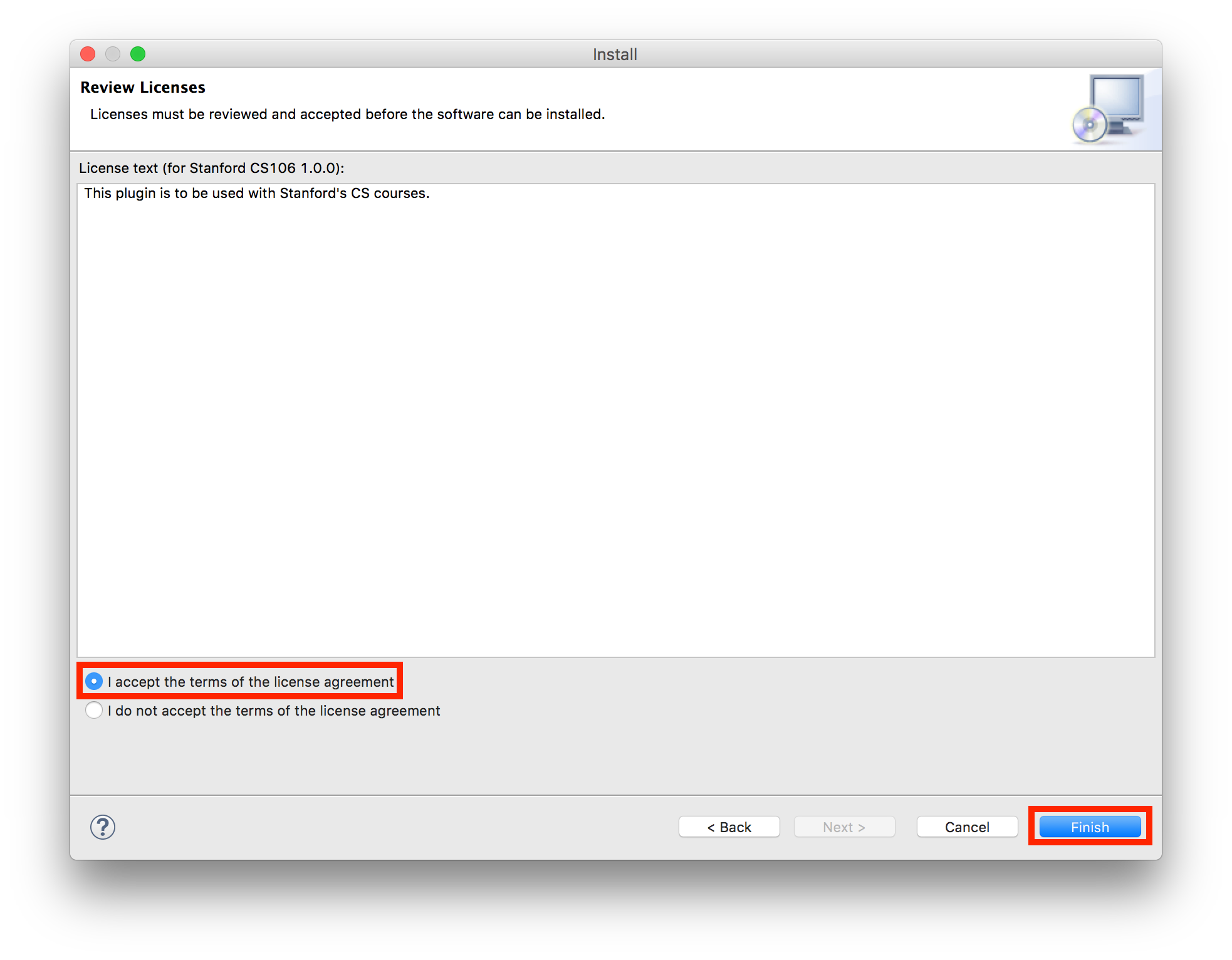 Eclipse License Agreement dialog