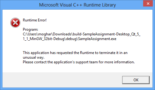 cashflow manager unhandled exception has occured in your application