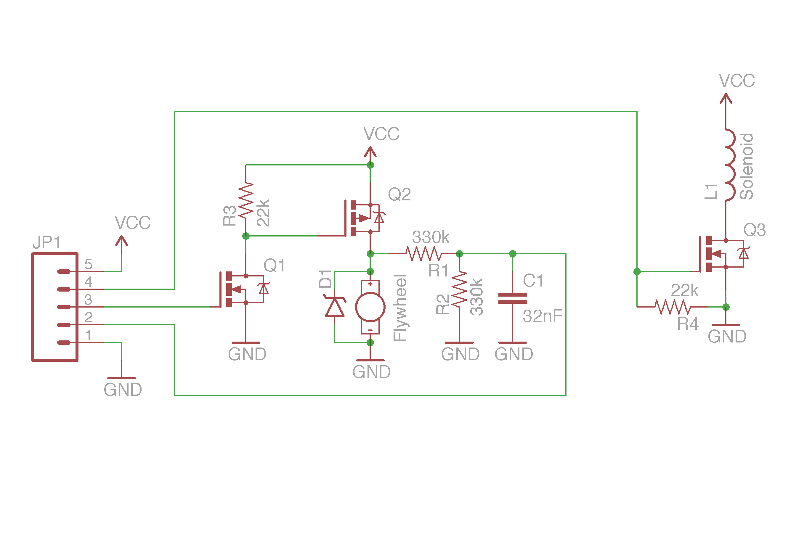 Electrical Driver Circuitdrivercircuitjpg The Circuit For Controlling Solenoid And Flywheel Motor Was Connected Via A Single Molex Connector Cable To Arduino However