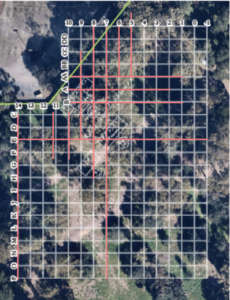 Stanford University's Campus Archaeology Program used a grid system for investigations, which they laid over a search area determined by historic maps.