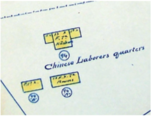 """One important source was a 1908 fire insurance map, which clearly labelled these buildings as the """"Chinese Labor Quarters."""""""