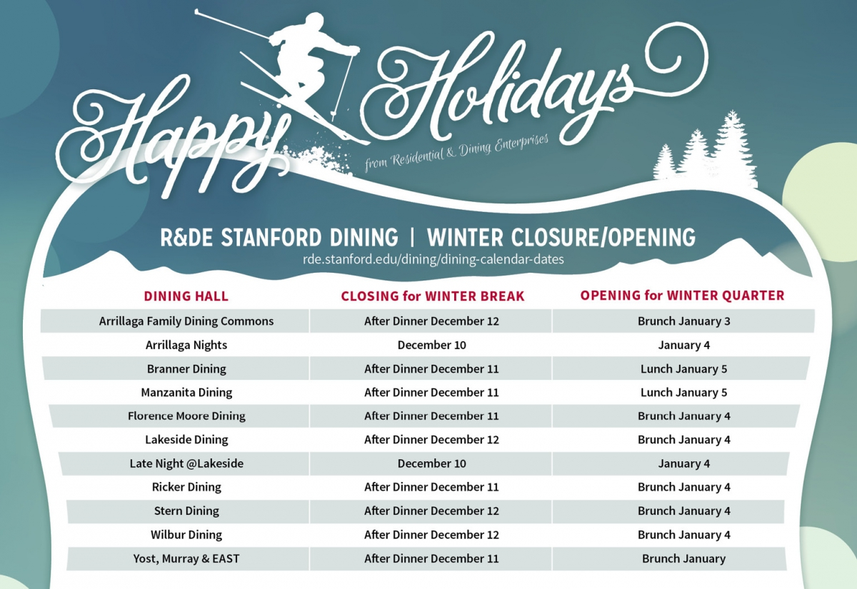 Stanford Dining Holiday Hours: Arrillaga Family Dining Commons, Lakeside Dining, and Wilbur Dining will close for Winter Break on December 12th. Branner Dining, Manzanita Dining, Florence Moore Dining, Ricker Dining, and Yost, Murray and EAST will close for winter break after dinner on December 11. Arrillaga Family Dining Commons will open for winter quarter January 3th. Arrillaga Nights will open for lunch for winter quarter January 4th. Branner Dining and Manzanita Dining will open for winter quarter for brunch on January 5th. Florence Moore Dining, Lakeside Dining, Ricker Dining, Stern Dining, Wilbur Dining, and Yost, Murray and EAST will open for winter quarter for brunch on January 4. Late Night at Lakeside will open January 4th for Winter Quarter.