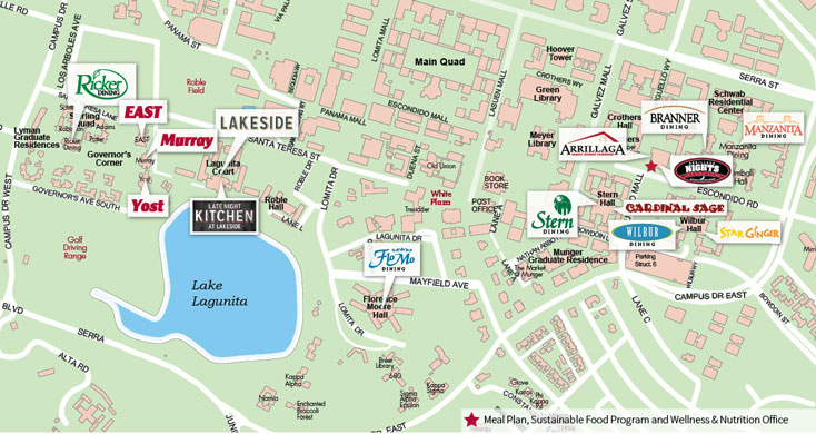 Map of Stanford Dining halls