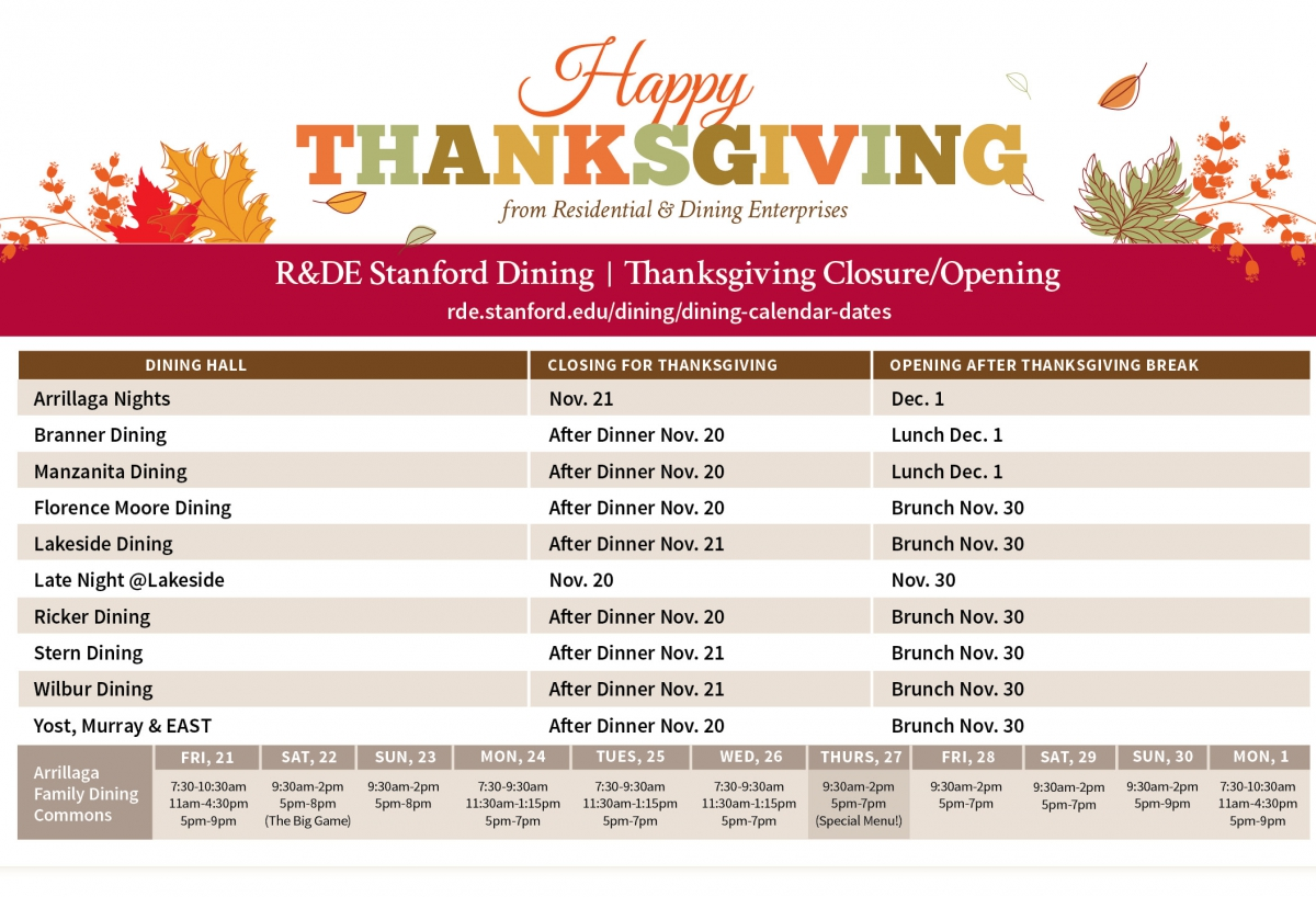 Stanford Dining Holiday Hours