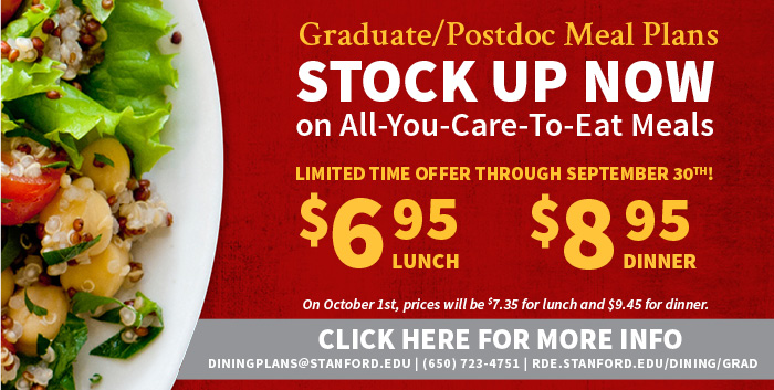 Grad meal plan special pricing until October 1 2014